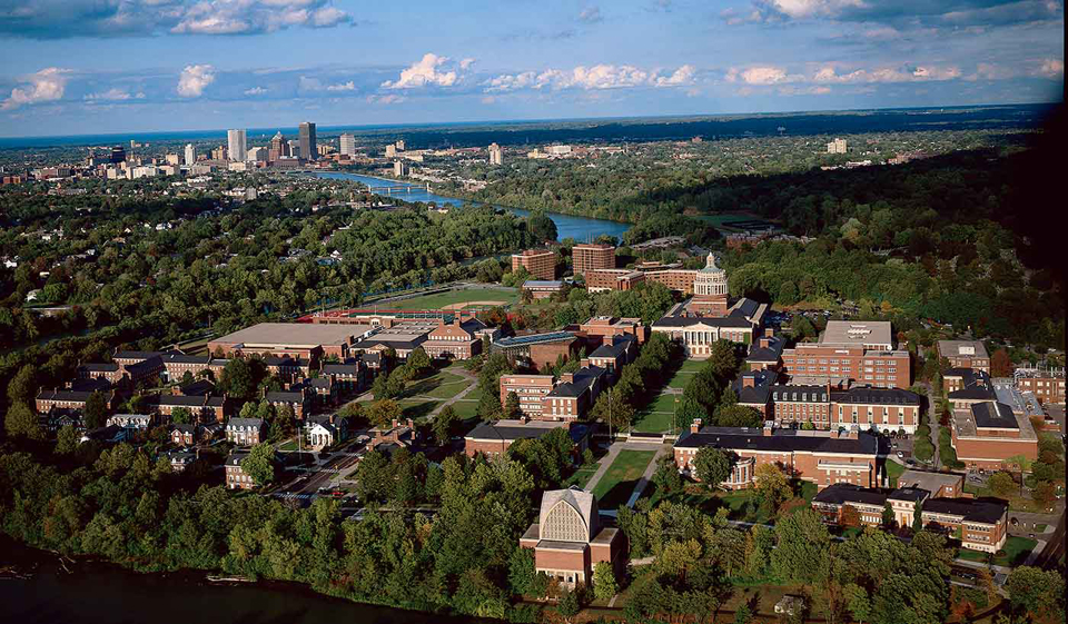 Arial view of the University and Downtown